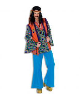Hippie Hippie-hemd Flower Power 60er 70er Peace orange Herren-Kostüm KK