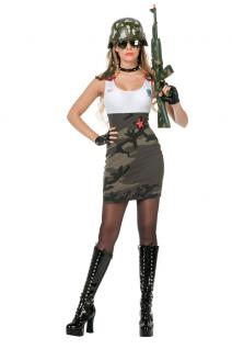 Karneval Klamotten Kostüm Soldat Sexy Army Dame Karneval Militär Damenkostüm