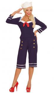 Karneval Klamotten Kostüm Matrosin 50er Jahre Karneval Sailor Damenkostüm