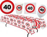 Party Set XL 45 Teile Geburtstag 40 Jahre Verkehrsschild