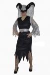 Karneval Klamotten Kostüm Teufelin schwarz-silber Halloween Dame Damenkostüm