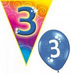 Set Kindergeburtstag Luftballons und Girlanden 3 Jahr