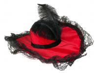 Karneval Klamotten Kostüm Hut Luxus rot schwarz Zubehör Show Karneval