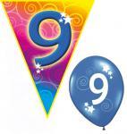 Set Kindergeburtstag Luftballons und Girlanden 9 Jahr