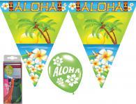 Deko Set Wimpelketten, Luftballons Hawaii Sommer Aloha 14 tlg. Wimpel/Girlande