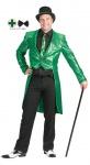 Karneval Klamotten Kostüm Herren Frack Pailletten grün mit Fliege schwarz