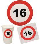 Party Set 32 Teile Geburtstag 16 Jahre Verkehrsschild