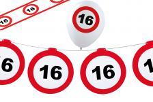 Dekoset Geburtstag Party 16 Jahre Verkehrsschild