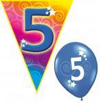 Set Kindergeburtstag Luftballons und Girlanden 5 Jahr