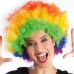 Karneval Klamotten Kostüm Perücke Afro Regenbogen Zubehör Disco Karneval