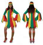 Karneval Klamotten Kleid Narren Dame rot grün gelb Karneval Zirkus Damenkostüm