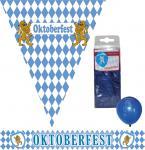 Raumdeko Deko Party Set Bavaria Oktoberfest 14 Teile blau-weiß Wimpel/Girlande