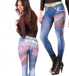 Karneval Klamotten Kostüm Hip-Hop Damen Leggings Jeans Look Hippie Karneval