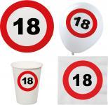 Party Set XL 44 Teile Geburtstag 18 Jahre Verkehrsschild