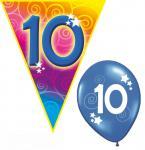 Set Kindergeburtstag Luftballons und Girlanden 10 Jahr
