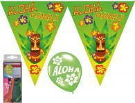 Deko Set Wimpelketten, Luftballons Aloha Hawaii Tiki 14 tlg. Wimpel/Girlande