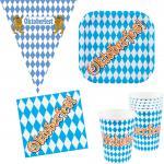 Party Set Bayern Oktoberfest 25 Teile : Teller, Becher, Servietten, Wimpelkette