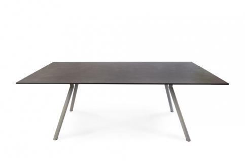 Esstisch Teso 150 × 95 cm mit Egelstahlgestell, stonegrey beschichtet von Fischer Möbel