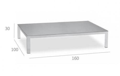 Expormim Loungetisch 160 cm mit einer Keramik- oder HPL-Tischplatte