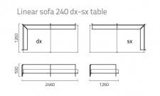 Coro Sabal Loungesofa dx-sx Modul 246 cm mit einer Tischablage
