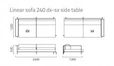 Coro Sabal Loungesofa dx-sx Modul 240 cm mit einer Tischablage
