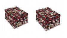 Ordnungsboxen 2er SET Deko Karton Clip Motiv Fashion Aufbewahrungsbox für Haushalt Büro Wäsche Geschenkbox Dekokarton Sammelbox Mehrzweckbox Ordnungskarton Ordnungsbox Geschenkekarton