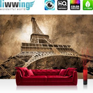 liwwing Vlies Fototapete 300x210 cm PREMIUM PLUS Wand Foto Tapete Wand Bild Vliestapete - Frankreich Tapete Eiffelturm Paris Wolken Vintage braun - no. 643