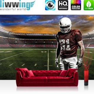 liwwing Vlies Fototapete 312x219cm PREMIUM PLUS Wand Foto Tapete Wand Bild Vliestapete - Sport Tapete Fussball Amerikanisch Football Stadion grün - no. 1195