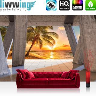 liwwing Vlies Fototapete 416x254cm PREMIUM PLUS Wand Foto Tapete Wand Bild Vliestapete - Sonnenuntergang Tapete Terrasse Balkon Strand Meer Palme Sonnenuntergang grau - no. 2815
