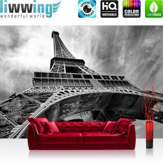 liwwing Vlies Fototapete 350x245 cm PREMIUM PLUS Wand Foto Tapete Wand Bild Vliestapete - Frankreich Tapete Eiffelturm Paris Wolken Vintage grau - no. 635