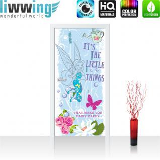 liwwing Vlies Türtapete 91x211 cm PREMIUM PLUS Tür Fototapete Türposter Türpanel Foto Tapete Bild - DISNEY Fairytales Kindertapete Feen Schmetterling Blumen - no. 1088