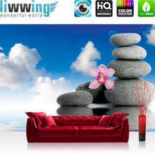 liwwing Fototapete 368x254 cm PREMIUM Wand Foto Tapete Wand Bild Papiertapete - Wellness Tapete Wellness Steine Orchidee Wolken Wasser Ruhe Entspannung blau - no. 1453