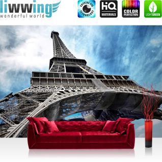 liwwing Vlies Fototapete 416x254cm PREMIUM PLUS Wand Foto Tapete Wand Bild Vliestapete - Frankreich Tapete Eifelturm Paris Stadt blau - no. 2980