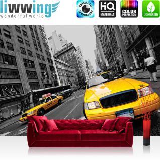 liwwing Vlies Fototapete 312x219cm PREMIUM PLUS Wand Foto Tapete Wand Bild Vliestapete - New York Tapete Haus Fassade Fahne Taxi Stadt gelb - no. 848