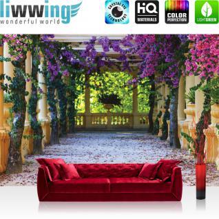 liwwing Vlies Fototapete 254x184cm PREMIUM PLUS Wand Foto Tapete Wand Bild Vliestapete - Architektur Tapete Säulengang Garten mediterran Flieder natural - no. 3526
