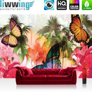 liwwing Vlies Fototapete 300x210 cm PREMIUM PLUS Wand Foto Tapete Wand Bild Vliestapete - Illustrationen Tapete Blumen Palme Schmetterling Kunst Palmen Abstrakt rosa - no. 1000