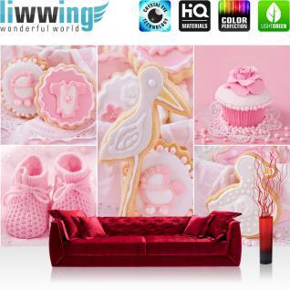 liwwing Fototapete 254x184cm PREMIUM Wand Foto Tapete Wand Bild Papiertapete - Mädchen Tapete Cupcake Storch Baby Babyschuhe Kekse rosa - no. 3338