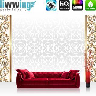 liwwing Fototapete 368x254 cm PREMIUM Wand Foto Tapete Wand Bild Papiertapete - Ornamente Tapete Blume Abstrakt gold - no. 1236