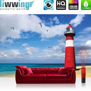 liwwing Vlies Fototapete 416x254cm PREMIUM PLUS Wand Foto Tapete Wand Bild Vliestapete - Meer Tapete Strand Leuchtturm Küste Wolken Möwen blau - no. 1468