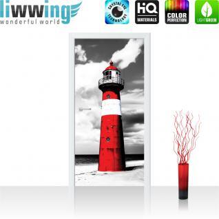 liwwing Türtapete selbstklebend 91x211 cm PREMIUM PLUS Tür Fototapete Türposter Türpanel Foto Tapete Bild - Leuchtturm Strand Wolken - no. 542