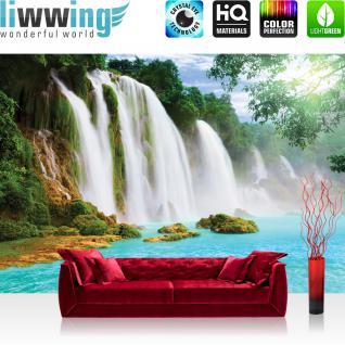 liwwing Vlies Fototapete 416x254cm PREMIUM PLUS Wand Foto Tapete Wand Bild Vliestapete - Wasser Tapete Wasserfall Dschungel See Fluss Tropen bunt - no. 3296