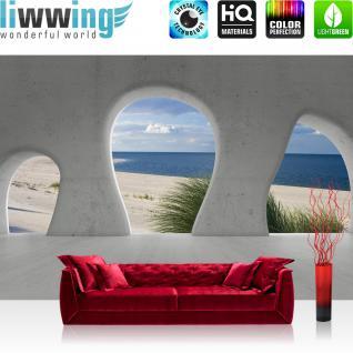 liwwing Vlies Fototapete 312x219cm PREMIUM PLUS Wand Foto Tapete Wand Bild Vliestapete - Architektur Tapete Strand Meer Wasser Himmel Baustil Bauform blau - no. 2135