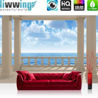 liwwing Vlies Fototapete 300x210 cm PREMIUM PLUS Wand Foto Tapete Wand Bild Vliestapete - TERRACE VIEW SILENT OCEAN - Seeblick 3D Strand Beach Meer Sonne Wolken Himmel - no. 122