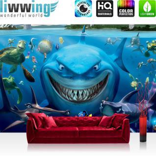 liwwing Vlies Fototapete 416x254cm PREMIUM PLUS Wand Foto Tapete Wand Bild Vliestapete - Tapete Disney Findet Nemo Kindertapete Fische Haie Schildkröte Wasser blau - no. 2615