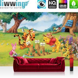 liwwing Fototapete 368x254 cm PREMIUM Wand Foto Tapete Wand Bild Papiertapete - Cartoon Tapete Disney Winnie Pooh Winnie Puuh Tigger Ferkel Garten Bäume bunt - no. 1656