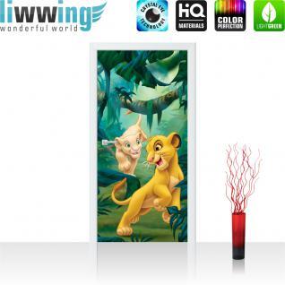 liwwing Vlies Türtapete 91x211 cm PREMIUM PLUS Tür Fototapete Türposter Türpanel Foto Tapete Bild - -DISNEY König der Löwen Kindertapete Cartoon Kinder Dschungel - no. 934