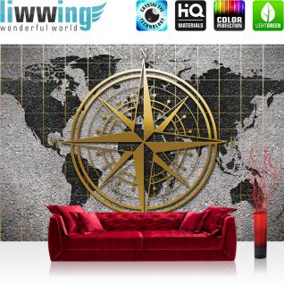 liwwing Vlies Fototapete 416x254cm PREMIUM PLUS Wand Foto Tapete Wand Bild Vliestapete - Steinwand Tapete Steinoptik Welt Erde Kontinente Kompass Sterne grau - no. 3046