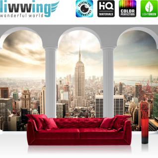 liwwing Vlies Fototapete 416x254cm PREMIUM PLUS Wand Foto Tapete Wand Bild Vliestapete - New York Tapete Skyline Tower Gebäude Terrasse Balkon weiß - no. 2360