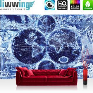 liwwing Vlies Fototapete 312x219cm PREMIUM PLUS Wand Foto Tapete Wand Bild Vliestapete - Geographie Tapete Götter Welt Orbis Terrarum Atlas Religion blau - no. 2134