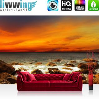 liwwing Vlies Fototapete 200x140 cm PREMIUM PLUS Wand Foto Tapete Wand Bild Vliestapete - ROCKY BEACH SUNSET - Sonnenaufgang Strand Meer Felsen Sunset - no. 059